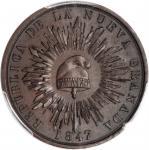 COLOMBIA.1847 pattern Decimo. Restrepo P18. Bronze. SP-64+ (PCGS).