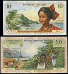 x Institut d'Emission des Départements d'Outre-Mer, French Antilles, 10 francs, 50 francs, ND (1964-