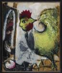 Marc CHAGALL 1887 – 1985LE COQ - PEINTRE SUR LES TOITS – 1949Gouache et encre sur papier contrecolle