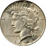 1934-S Peace Silver Dollar. MS-63 (PCGS). CAC.