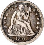 1841-O Liberty Seated Dime. Fortin-101. Rarity-6. Closed Bud Reverse, Large O. VF-25 (PCGS). OGH.