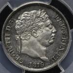 GREAT BRITAIN George III ジョージ3世(1760~1820) Shilling 1819 PCGS-MS62 AU~UNC