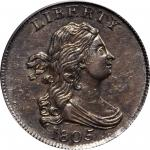 1805 Draped Bust Half Cent. C-4. Rarity-2. Large 5, Stems to Wreath. AU-55 (PCGS).