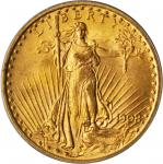 1908 Saint-Gaudens Double Eagle. No Motto. MS-64 (PCGS).