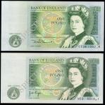 Bank of England, J. B. Page, ERROR £1, ND (1978), serial number CT28 1302()8, also a Somerset, ERROR
