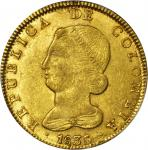 COLOMBIA. 1836-RS 8 Escudos. Bogotá mint. Restrepo M165.31. MS-61 (PCGS).