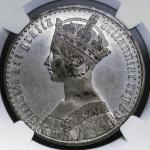 GREAT BRITAIN Victoria ヴィクトリア(1837~1901) Pattern Crown in White Metal 1847 NGC-PF60 Proof EF/UNC