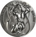 1979 Solar Energy and Helios the Sun God. Silver. 73 mm. 256.6 grams. 999 fine. By Donald Borja. Ale