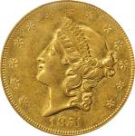 1851-O Liberty Head Double Eagle. AU-50 (PCGS).
