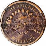 W.C. MONTGOMERY / BOSTON MASS / PATENTED MAY 6-18[90] on both sides of an 1860s Indian Head cent. Br