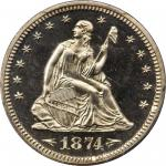 1874 Liberty Seated Quarter. Arrows. Proof-66 Cameo (PCGS). CAC.