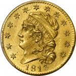 1813 Capped Head Left Half Eagle. BD-1. Rarity-2. MS-63 (PCGS).