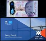 Bank of Scotland, polymer issue £20, 1 June 2019, serial number AA 000100, purple, indigo and dark r
