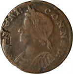 1786 Connecticut Copper. Miller 5.2-O.2, W-2560. Rarity-5. Mailed Bust Left. VF-20 (PCGS).