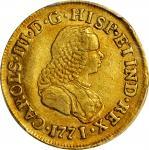 COLOMBIA. 1771/0-J 2 Escudos. Popayán mint. Carlos III (1759-1788). Restrepo 58.17. AU-50 (PCGS).