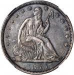 1850 Liberty Seated Half Dollar. WB-4. Rarity-3. AU-55 (NGC).