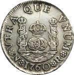 COLOMBIA. 1760-JV Real. Santa Fe de Nuevo Reino (Bogotá) mint. Carlos III (1759-1788). Restrepo 36.1