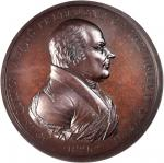 1825 John Quincy Adams Indian Peace Medal. Large Size. Bronze. 76 mm. By Moritz Furst and John Reich