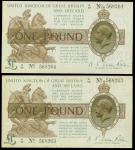 1919年英伦银行纸币二枚一组,面值一镑,编号N26 568263-264, 原装GVF, 有微黄