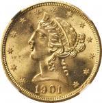 1901/0-S Liberty Head Half Eagle. FS-301. Overdate. MS-65 (NGC).