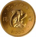 1980年香港1000元,生肖系列。猴年。HONG KONG. 1000 Dollars, 1980. Lunar Series, Year of the Monkey. PCGS MS-69 Gol