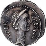 JULIUS CAESAR. AR Denarius (3.66 gms), Rome Mint, M. Mettius, moneyer, 44 B.C. NGC Ch EF★, Strike: 5