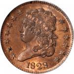 1828 Classic Head Half Cent. C-3. Rarity-1. 13 Stars. MS-64 RD (PCGS).