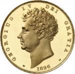 GRANDE-BRETAGNE Georges IV (1820-1830). 5 livres (5 pounds), Flan bruni (PROOF) 1826, Londres.