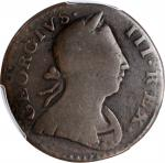 1776 Machins Mills Halfpenny. Vlack 6-76A, W-7790. Rarity-4. GEORGIVS III, Group III, Large Date. Fi