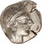 公元前454-404年阿提卡雅典古币。ATTICA. Athens. AR Tetradrachm (17.11 gms), ca. 454-404 B.C. NGC Ch AU, Strike: 5