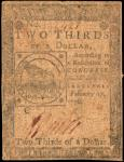 CC-22. Continental Currency. February 17, 1776. $2/3. Very Good.