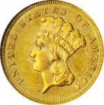 1885 Three-Dollar Gold Piece. MS-62 (NGC).