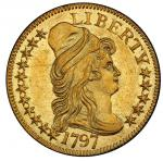 1797 Capped Bust Right Half Eagle. Bass Dannreuther-3. Rarity-6. 16 Stars. Small Eagle. AU-58 (PCGS)