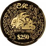 新加坡。1999年250元,生肖系列,兔年。
