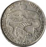 COLOMBIA. 1843-RS 8 Reales. Bogotá mint. Restrepo 194.9. AU-58 (PCGS).