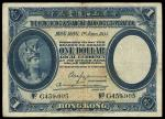 Hong Kong & Shanghai Banking Corporation, $1, 1 June 1935, serial number G459,905, black on blue and