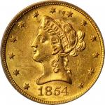 1854-S Liberty Eagle. MS-60 (ICG).