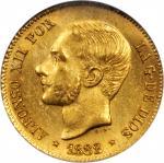 PHILIPPINES. 4 Pesos, 1882. NGC MS-63.