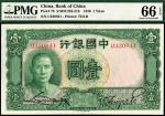 民国二十五年(1936)中国银行德纳罗版国父像法币券壹圆,PMG 66EPQ