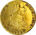 SPAIN. Falsa Época. Gilt Platinum Contemporary Counterfeit 4 Escudos, 1786-M DV. Uncertain Local Min