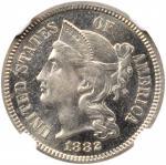 1882 Nickel Three-Cent Piece. Proof-64 * (NGC).