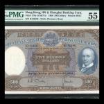 1968年汇丰银行500元,编号K136466,PMG 55 有附著物