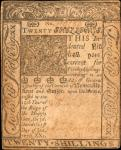 DE-80. Delaware. January 1, 1776. 20 Shillings. About Uncirculated.