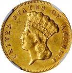1874 Three-Dollar Gold Piece. AU-58 (NGC).