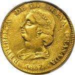 COLOMBIA. 1837-RU 16 Pesos. Popayán mint. Restrepo M212.1. AU Detail — Tooled (PCGS).