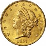 1851 Liberty Head Double Eagle. MS-61 (PCGS).