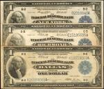 Lot of (3) Fr. 711, 722 & 742. 1918 $1 Federal Reserve Bank Notes. Fine to Very Fine-Extremely Fine.