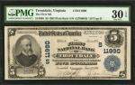 Troutdale, Virginia. $5 1902 Plain Back. Fr. 608. The First NB. Charter #11990. PMG Very Fine 30 EPQ