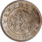 日本明治十六年一圆银币。大坂造币厂。 JAPAN. Yen, Year 16 (1883). Osaka Mint. Mutsuhito (Meiji). PCGS MS-61.