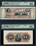 Banco de Valparaiso, Chile, obverse and reverse proof of 20 Pesos, 2 July 1877, black on pink underp